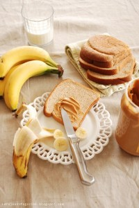 Peanut Butter and Banana and Jam Sandwich... Yum!