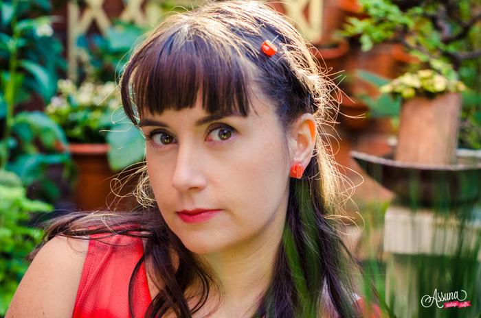 Assuna 2015/2016 - Boucles d'oreilles et barrette boutons anciens - Georgette orange