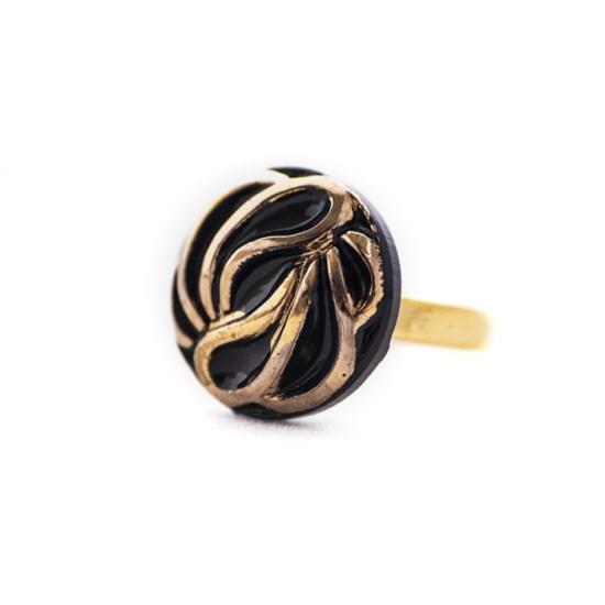 Assuna - Petite bague Andrée dorée - Bague bouton ancien d'inspiration vintage