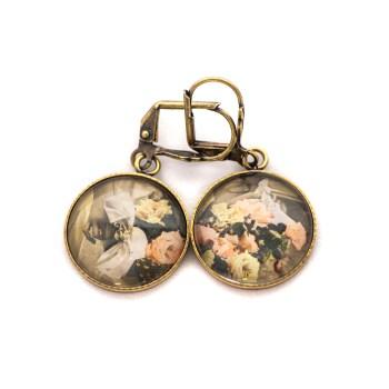 Boucles d'oreilles dorées carte postale Fleurs Bouquets Main