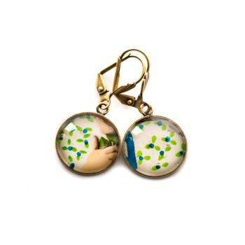 Boucles d'oreilles dorées carte postale Robe Motif Bleu Vert