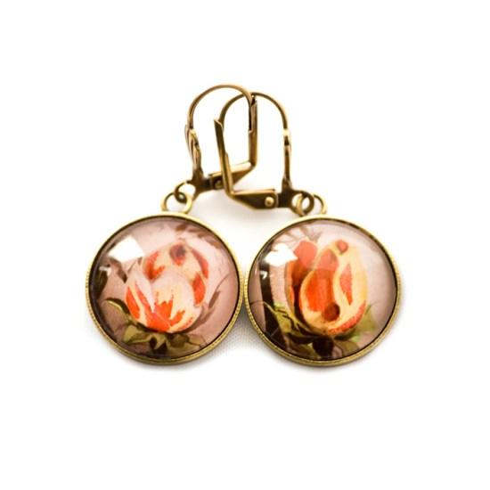 Boucles d'oreilles dorées carte postale Boutons de Roses