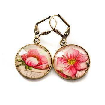 Boucles d'oreilles dorées carte postale Fleurs Roses