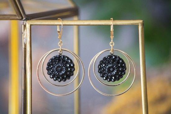 Assuna - Grandes boucles Lunare Marthe noir - inspiration vintage