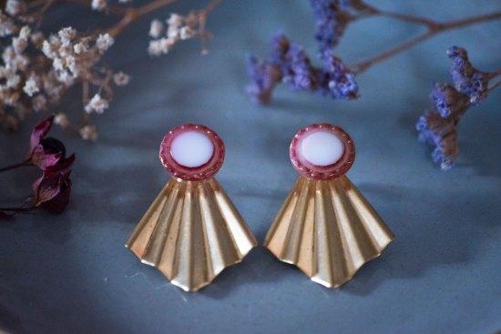 Assuna - Boucles Comète Lise - Boucles d'oreilles bouton ancien sur estampe en éventail