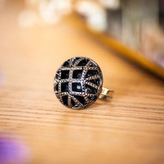 Assuna - Bague Reine argentée - bouton ancien - inspiration vintage