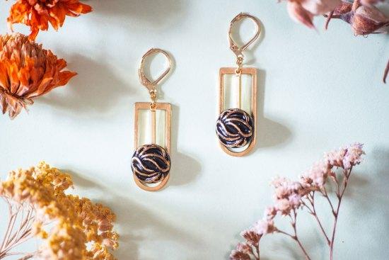 Assuna - Boucles Ysée Andrée - bijoux léger géométrique bouton ancien inspiration vintage