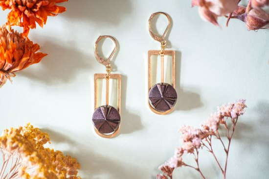 Assuna - Boucles Ysée Angèle bronze - bijoux léger géométrique bouton ancien inspiration vintage