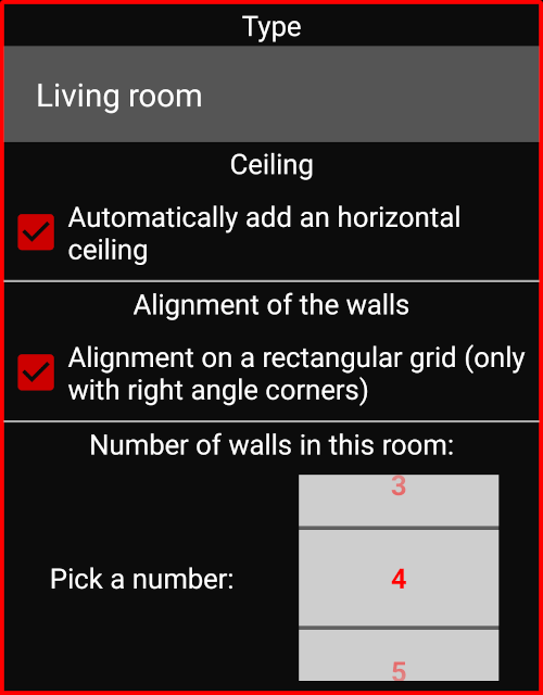 Dialog screen to add a new room to your 3D house plan