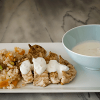 Warm Spiced Chicken with Cumin Yogurt Sauce