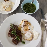 Grilled Venison Chimichurri with Grilled Potato Celeriac Salad