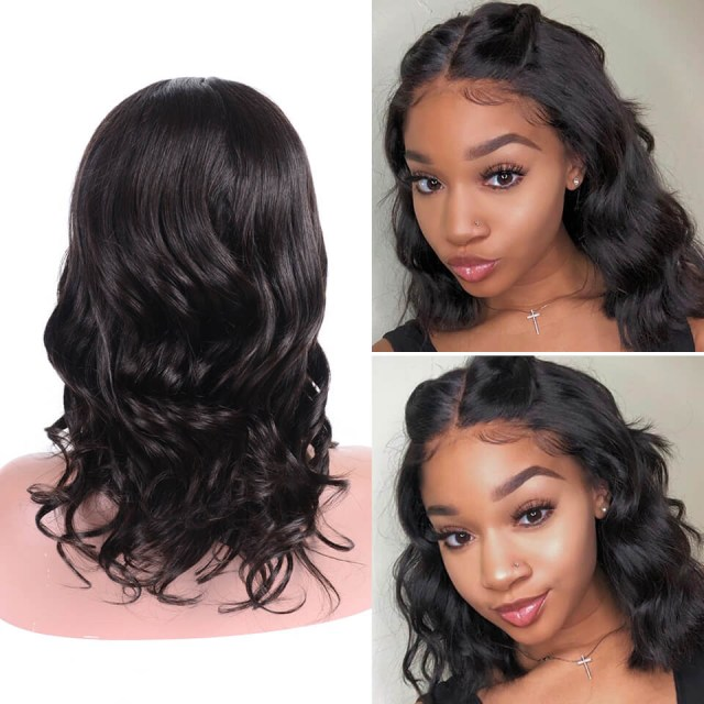 short bob body wave wig lace front wigs 100% human hair for women natural color