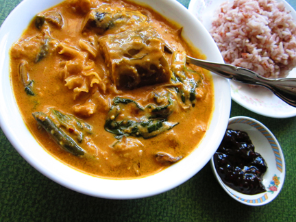 vegan kare kare with rice