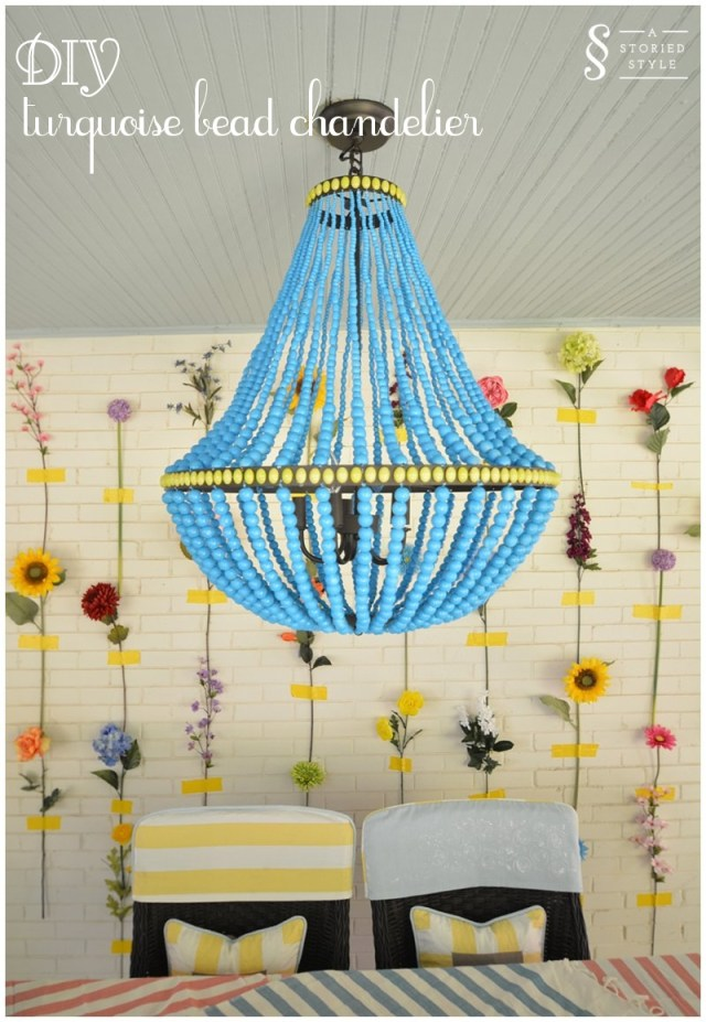 Diy tutorial turquoise bead chandelier a storied style diy turquoise bead chandelier aloadofball Image collections