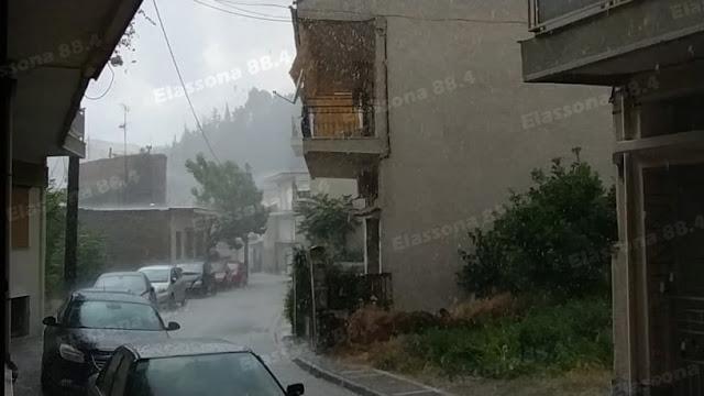 Χαλάζι και ισχυρή βροχόπτωση στην Ελασσόνα (φωτο)