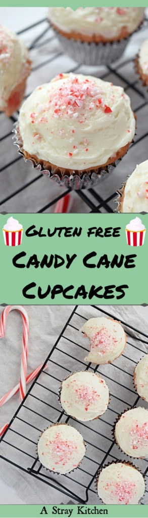 A two photo graphic for pinterest. The top photo is a close up of a candy cane cupcake. The bottom photo is of half a dozen peppermint cupcakes on a baking rack. The text between the photos reads; Gluten free Candy Cane Cupcakes with Buttercream Frosting.
