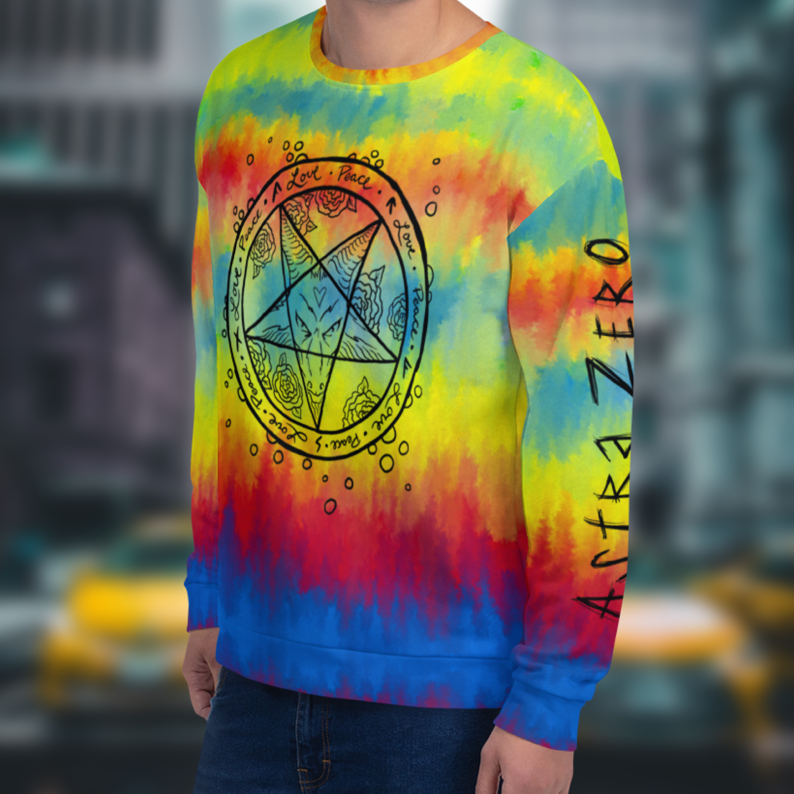 "Featured image for ""Faux Tie Dye Satan - Unisex Sweatshirt"""