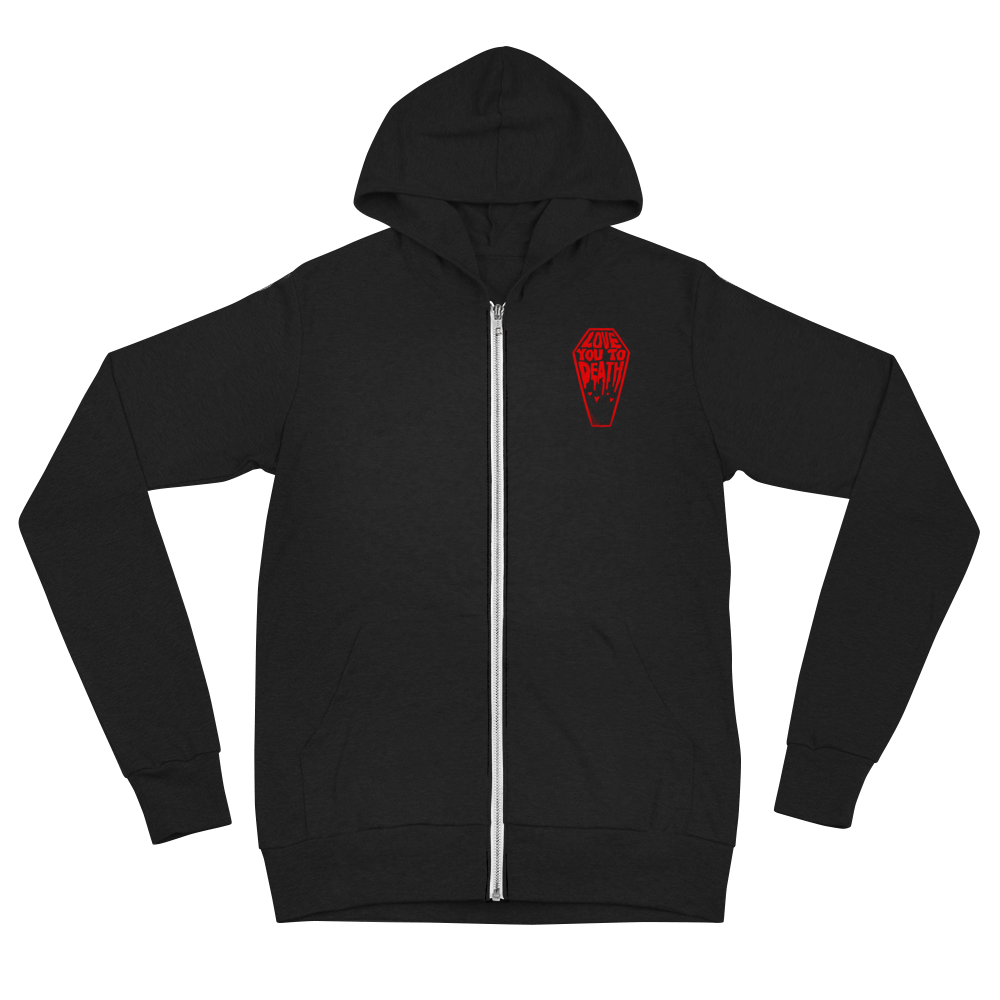 """Featured image for """"Love You to Death - Unisex Lightweight  zip hoodie"""""""
