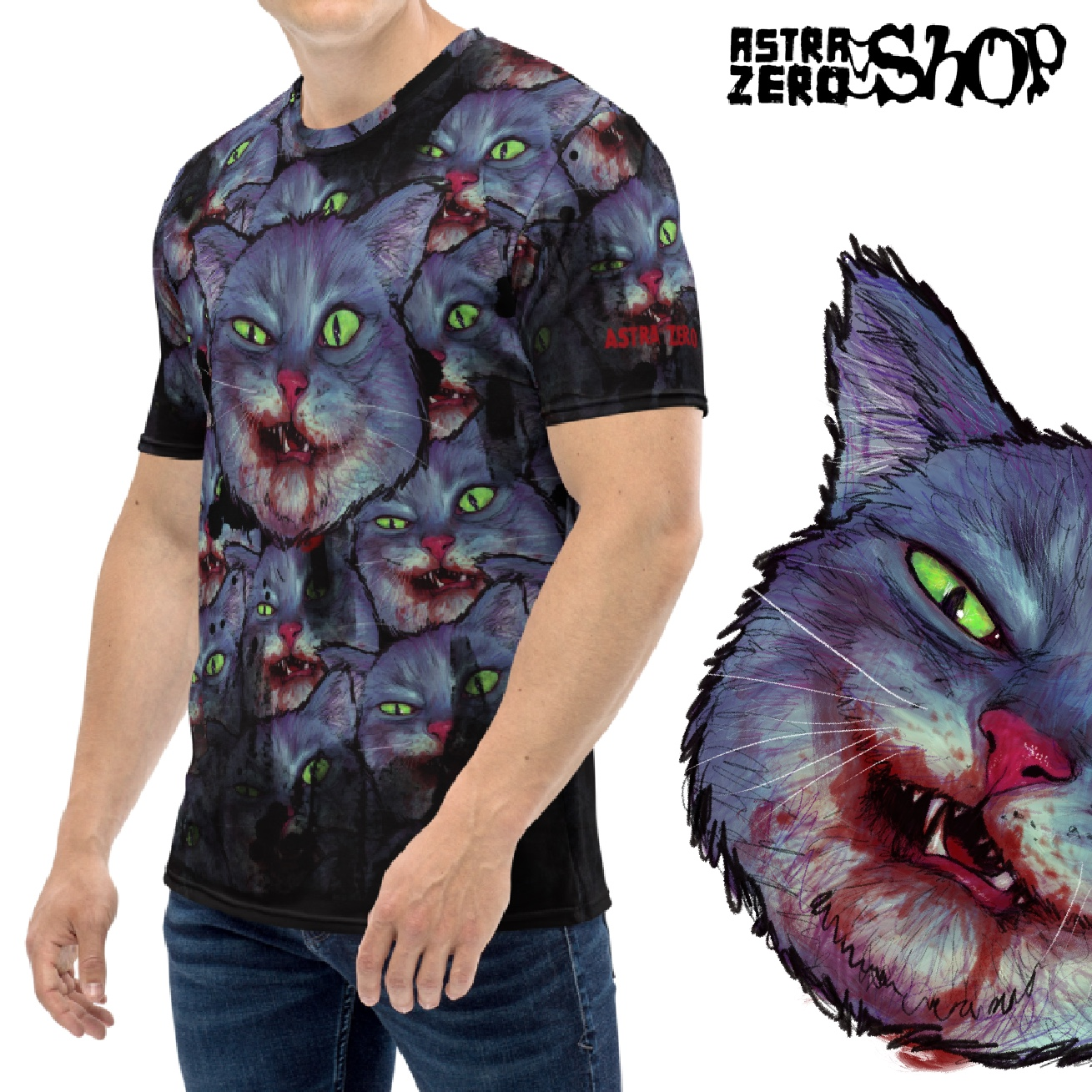 "Featured image for ""Evil Cat - All Over Men's T-shirt"""