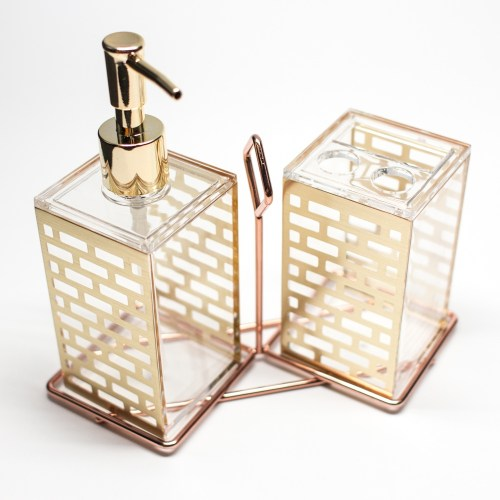 Bathroom Fashion Pattern Shampoo Holder Gold