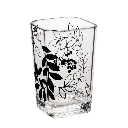 Bathroom Accesssories, Clear Acrylic Mouthwash Cup with Black Flower Style