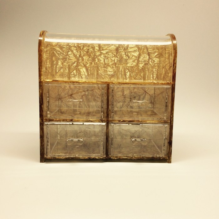 Gold Clamshell Jewelry Storage Box with 4 drawers