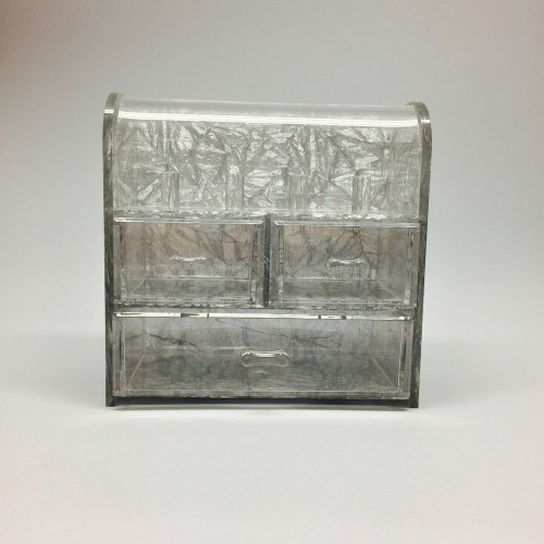Silver Clamshell Jewelry Storage Box with 3 drawers