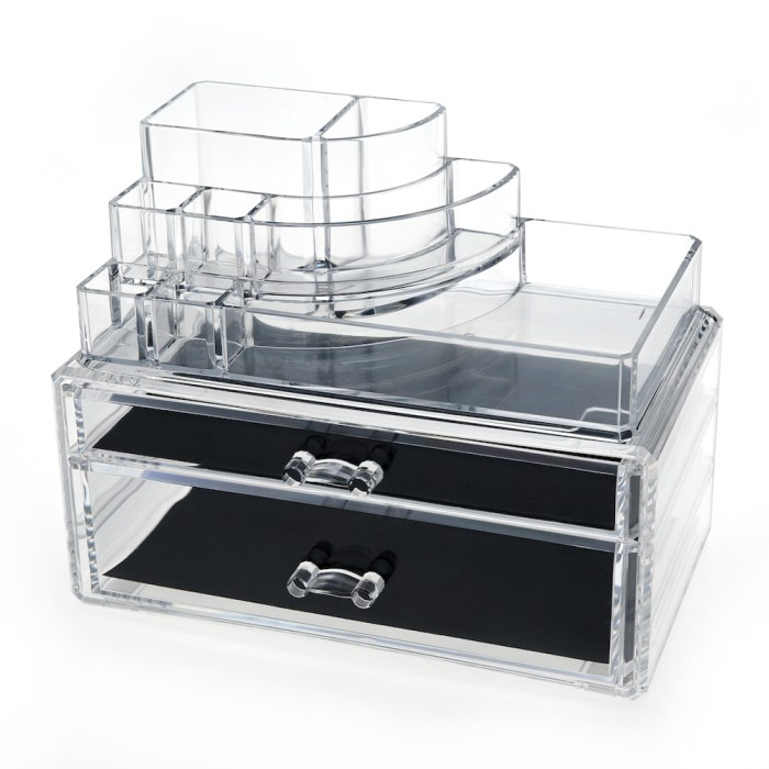 Desktop Clear Acrylic Lipstick and Cosmetic Organizer Series (2 Wide Drawers)