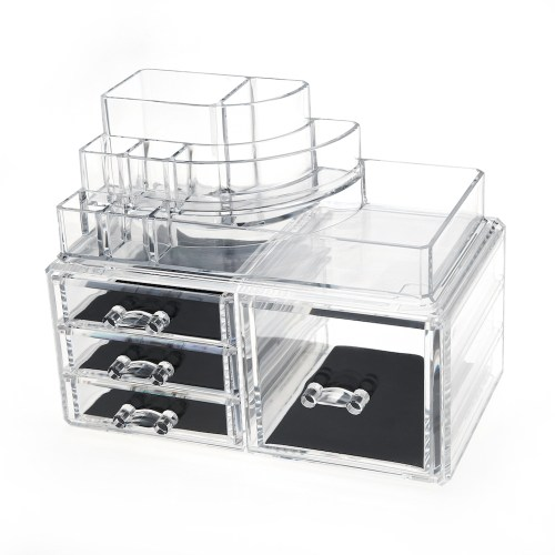 Desktop Clear Acrylic Lipstick and Cosmetic Organizer Series (4 Drawers)