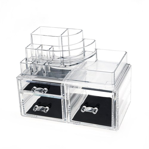 Desktop Clear Acrylic Lipstick and Cosmetic Organizer Series (3 Drawers)