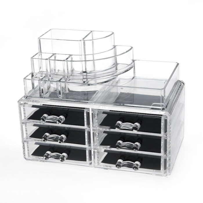 Desktop Clear Acrylic Lipstick and Cosmetic Organizer Series (6 Drawers)
