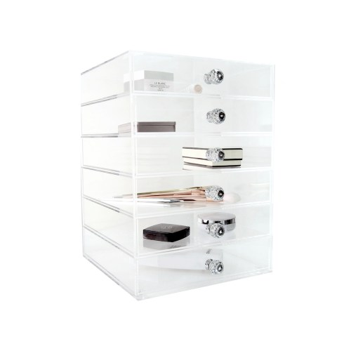Six Drawers Clear Acrylic Cosmetics&Home Organizer with Diamond Hodler
