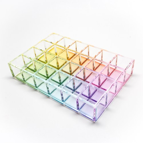 24 Partitions Makeup Lips Organiser Holder Rainbow