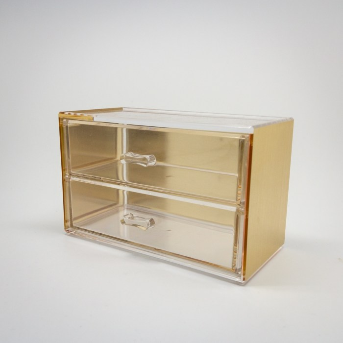 Gold Mini Desktop Storage Box with 2 Wide Drawers