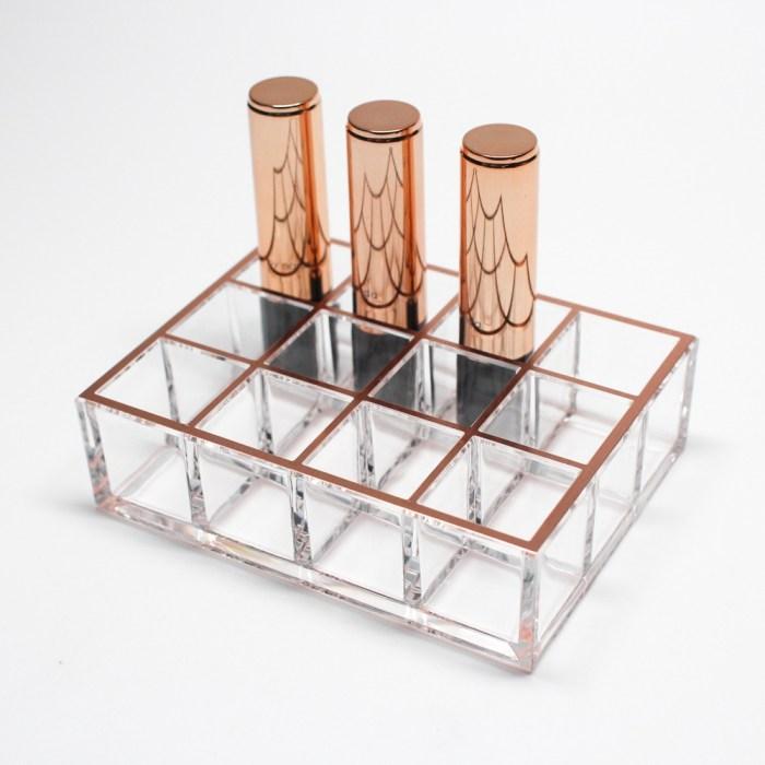Acrylic Rose Gold Lipstick Organizer 12 Slots
