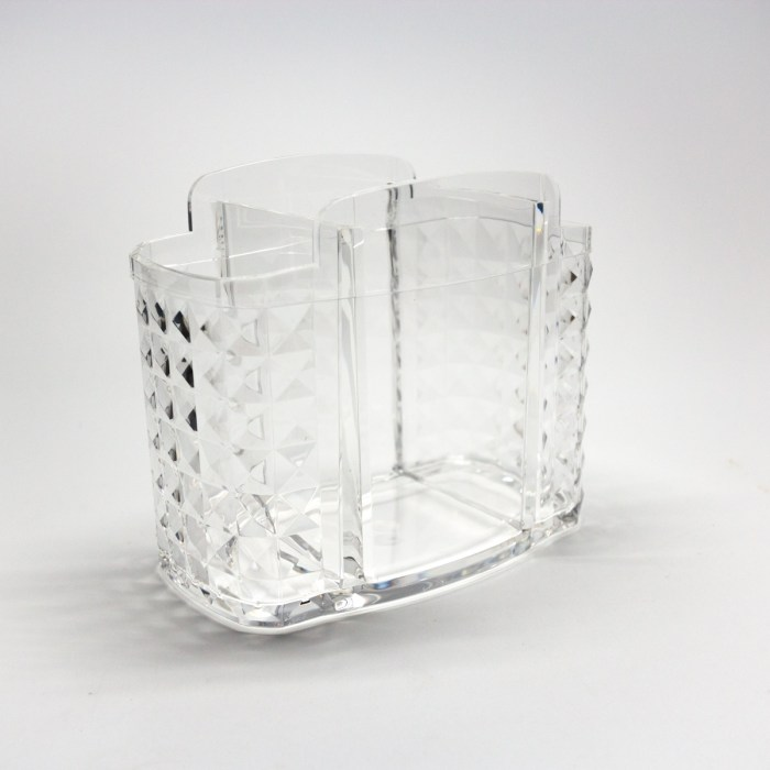 3 Slots Acrylic Makeup Brush Organizer with Diamond Side