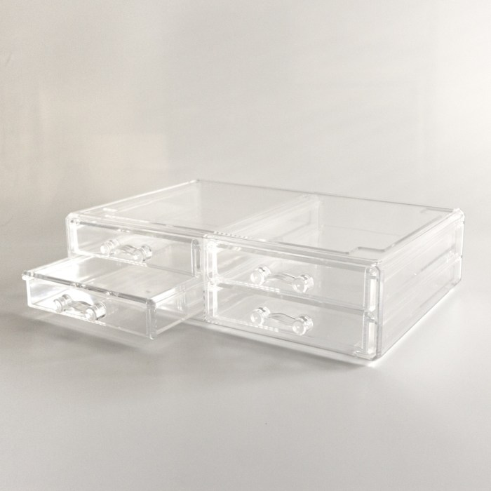 Large Transparent Multipurpose Storage Box With 4 Drawers