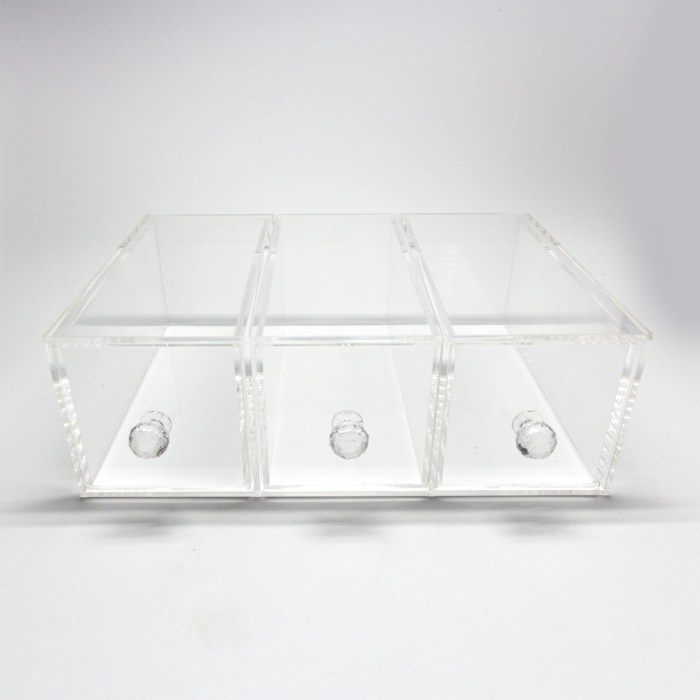 Transparent Three Grids Acrylic Makepup Organizer with Diamond Holder