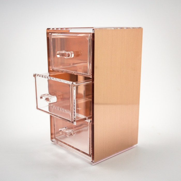 Rose Gold Mini Desktop Storage Box with 3 Drawers