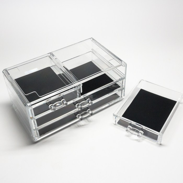Transparent Multipurpose Storage Box With 2 Small Drawers 2 Wide Drawers