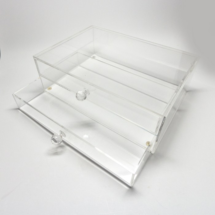 Transparent Two Layers Acrylic Makepup Organizer with Diamond Holder
