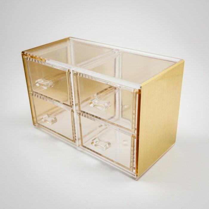 Gold Mini Desktop Storage Box with 4 Drawers