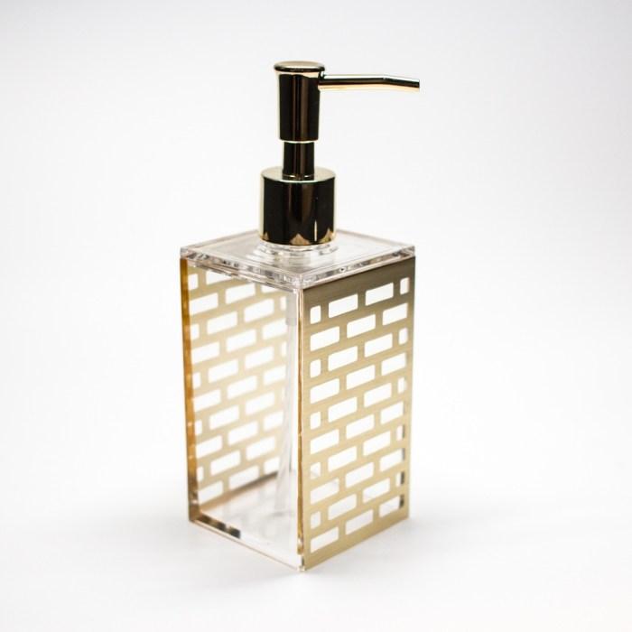 Rectangle Accessories Bath Shower Dispenser Gold Block