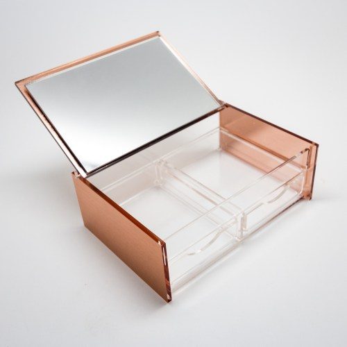 Rose Gold Mirror Acrylic Cosmetics Organizer with Flipping Top and 2 Drawers