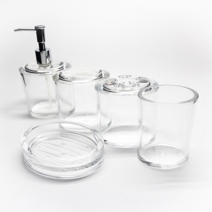 New Clear Acrylic Oval 5 Piece Bathroom Set