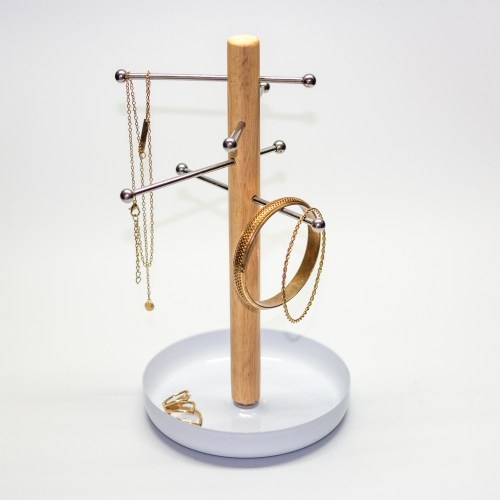Adjustable wood coating iron jewelry organizer
