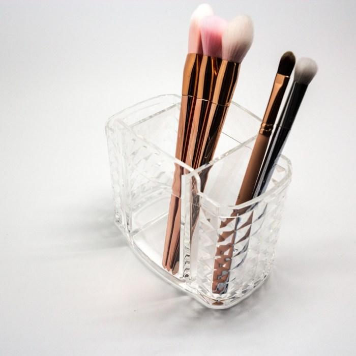 3 Slots Acrylic Makeup Brush Organizer with Diamond Side