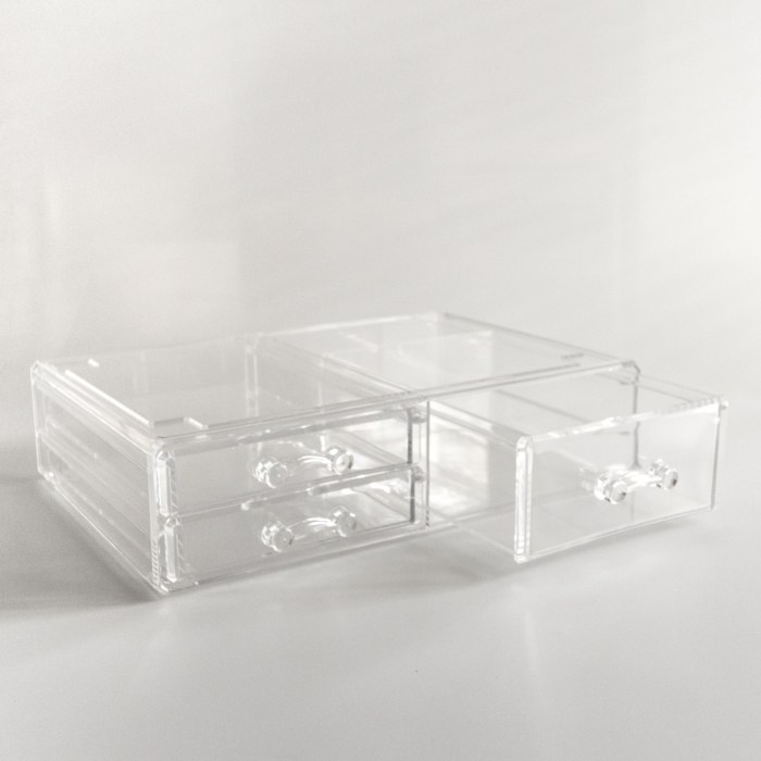 Large Transparent Multipurpose Storage Box With 3 Drawers