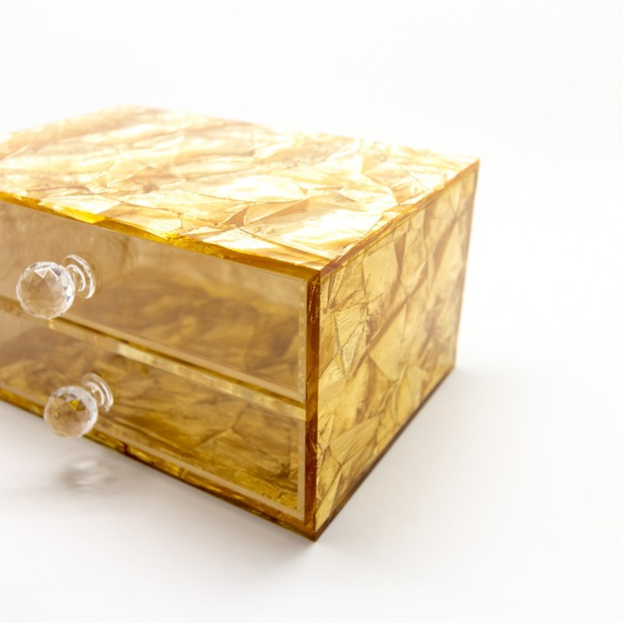 Hand-made Vertical Double Drawer Organizer Gold