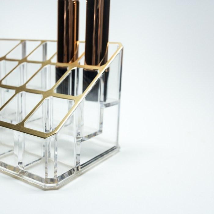 Acrylic gold desktop organizer